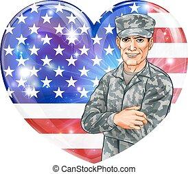 soldat, flagga, oss, hjärta
