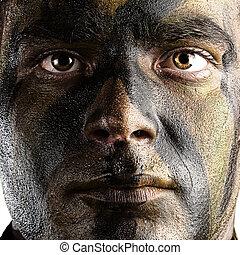 soldat, gesicht, gemalt