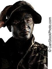 soldat, gesicht