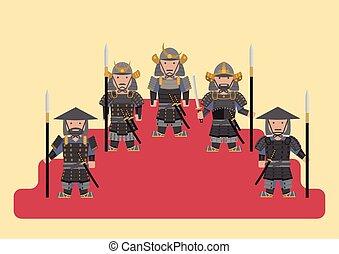 soldat, graphique, ancien, japonaise, plat