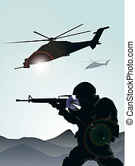 soldat, helicoptere