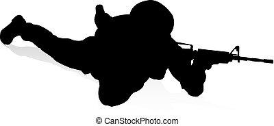 soldat, hoch, qualität, silhouette