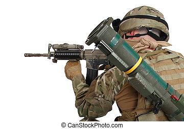 soldat, hos, assault gevær