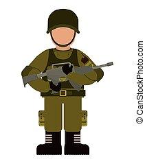 soldat, icon., bevæbnet, forces., vektor, grafik