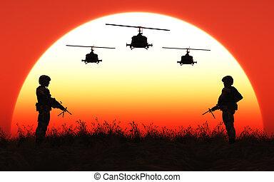 soldat, in, der, sonnenuntergang
