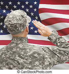 soldat, in, hut, flachdrehen, nationales kennzeichen, reihe, -, vereinigte staaten