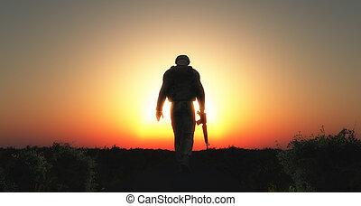 soldat, marche, coucher soleil, 3d
