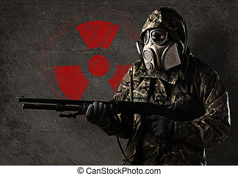 soldat, med, gas maskera