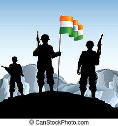 soldat, med, indiern sjunker