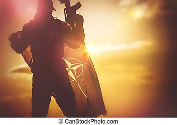 soldat, med, nato flagg