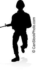 soldat, militaer, ausführlich, silhouette