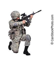 soldat, mit, greifen gewehr