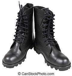 soldat, noir, bottes