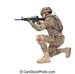 soldat, nymodig, gevär