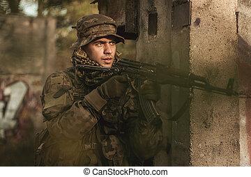 soldat, och, militär, manoeuvres