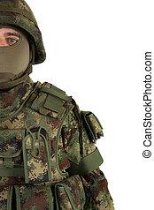 soldat, på hvide, baggrund