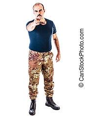 soldat, pekande vid, dig