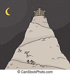 soldat, reisen, berg, nacht