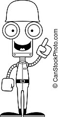 soldat, robot, idée, dessin animé