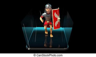 soldat, romain, animation, -, 3d