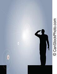 soldat, salut, silhouette, armee