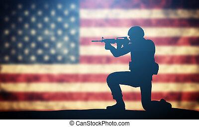 soldat, schießen, auf, usa, flag., amerikanische , armee, militaer, concept.