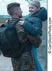 soldat, sien, heureux, tenue, fils