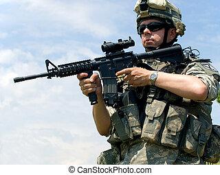soldat, sikta, hans, gevär