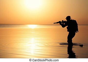 soldat, silhouette, armée