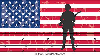 soldat, silhouette, armee