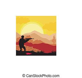 soldat, silhouette, gewehr, besitz