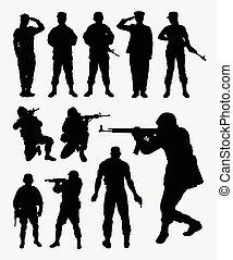 soldat, silhouetten, aktivität