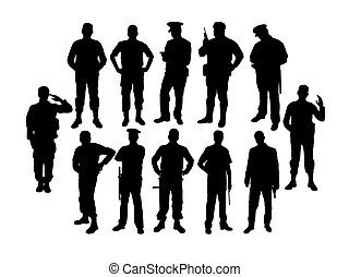 soldat, silhouettes, police
