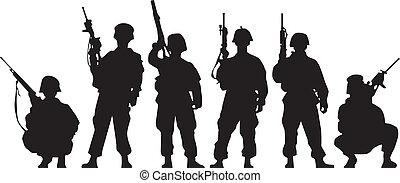 soldat, silhuet