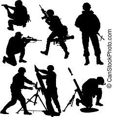 soldat, silhuett, beväpnat