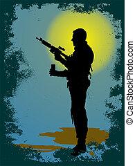soldat, -, silhuett