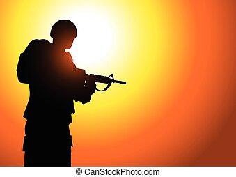 soldat, silhuett