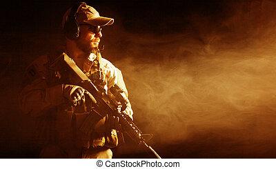 soldat, skäggig, speciell tvingar