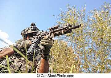 soldat, skjutning, under, den, militär, operation, i fjällen