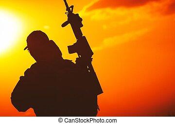 soldat, sonnenuntergang, silhouette