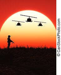 Soldat, Sonnenuntergang