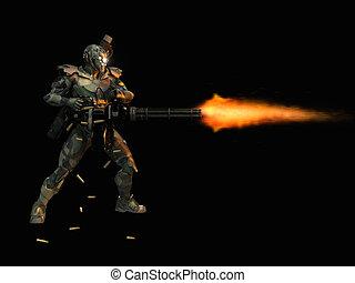 soldat, super, avancé