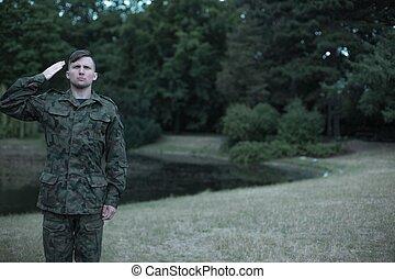 soldat, tröttsam, militär uniformera