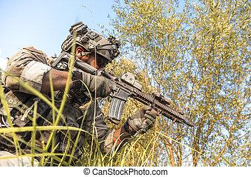 soldat, under, den, militär, operation, i fjällen