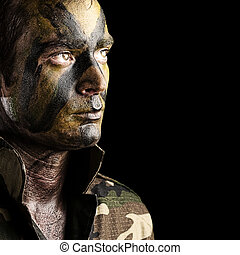 soldat, ung, ansikte