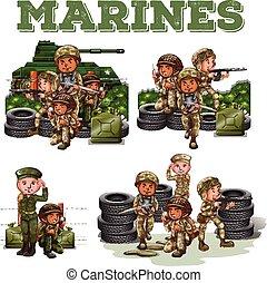 soldaten, boordgeschut, vecht