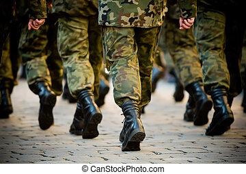 soldaten, maart, in, formatie