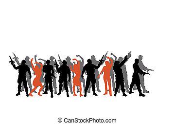 soldaten, silhouette, women-