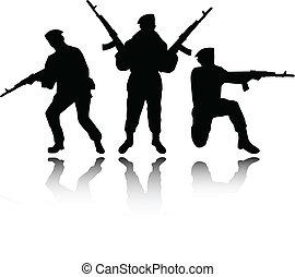 soldaten, silhouettes, vector
