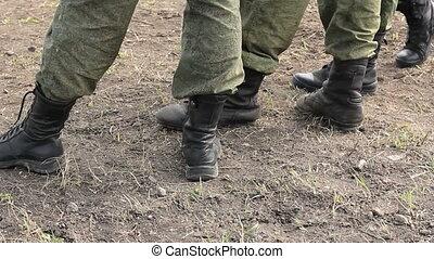 soldaten, stiefeln, füße